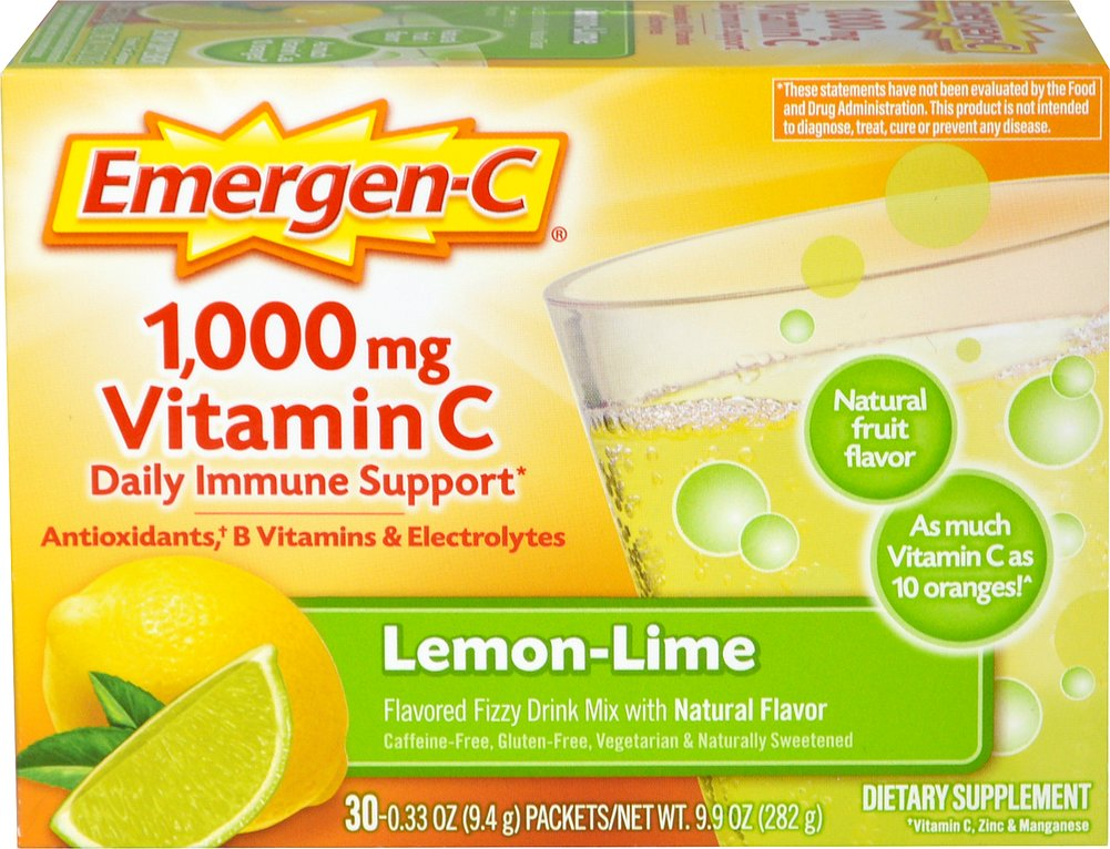 Emergen-C Packets Lemon-Lime 1000 mg <p><strong>From the Manufacturer's Label: </strong></p><p>Flavored Fizzy Drink Mix in a delicious Lemon-Lime flavor.<br /></p>Don't worry about prepping your pucker, you're in for a lip-smacking sweet and zingy citrus blast. With each sip, you can feel the 24 nutrients flow through your body in a wave of Emergen-C rejuvenation. If feeling good is your thing, you found the right box!<br /><p>&lt