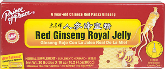 Red Ginseng Royal Jelly <p><strong>From the Manufacturer's Label: </strong></p><p>Liquid Ginseng with Royal Jelly combines two popular supplements into one dynamic formula.  Ginseng is one of the oldest and most highly regarded herbs.  Royal Jelly is a highly complex substance secreted from the glands of nurse bees and fed to larva of those destined to be queens.  Both give you herbal goodness fit for royalty.</p> 30 Liquid  $8.99