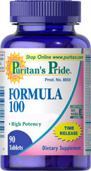 Formula 100 Multivitamins Timed Release <p>FORMULA 100 Tablets contain over 25 nutrients to address key areas of health including, antioxidant health, energy metabolism, cell growth, bone health, protein and fat metabolism, eye health, and nerve function.**</p>  90 Tablets  $35.99