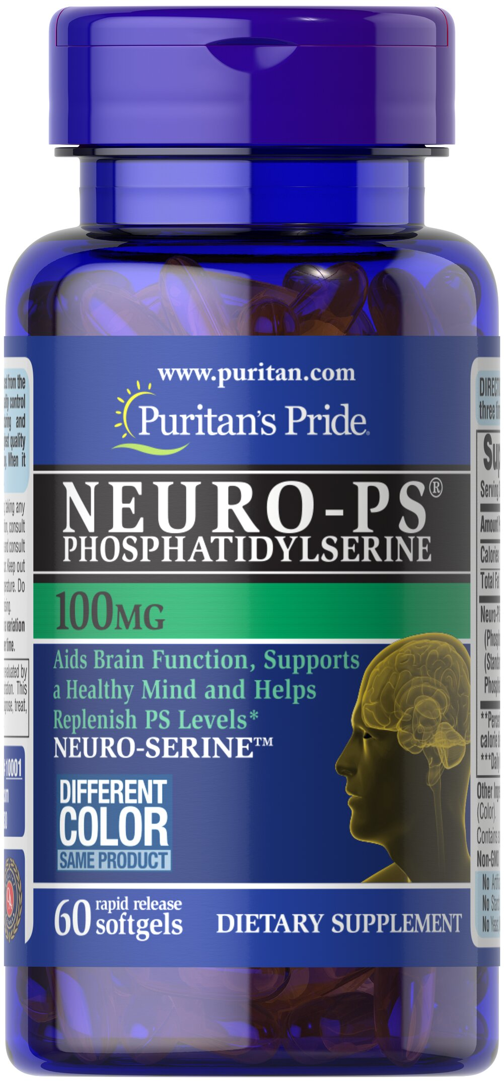Neuro-Ps (Phosphatidylserine) 100 mg • High Potency 300mg Neuro-PS <br /><br />Think Sharp™ with Phosphatidylserine (PS), a natural substance found in brain cell membranes.** PS plays a role in neurotransmission and supports brain function.** Some studies show that phospholipids such as Phosphatidylserine may decline with age, which is why supplementation is so important.** Very limited and preliminary scientific research suggests that PS may reduce the risk of cognitive dysfunction