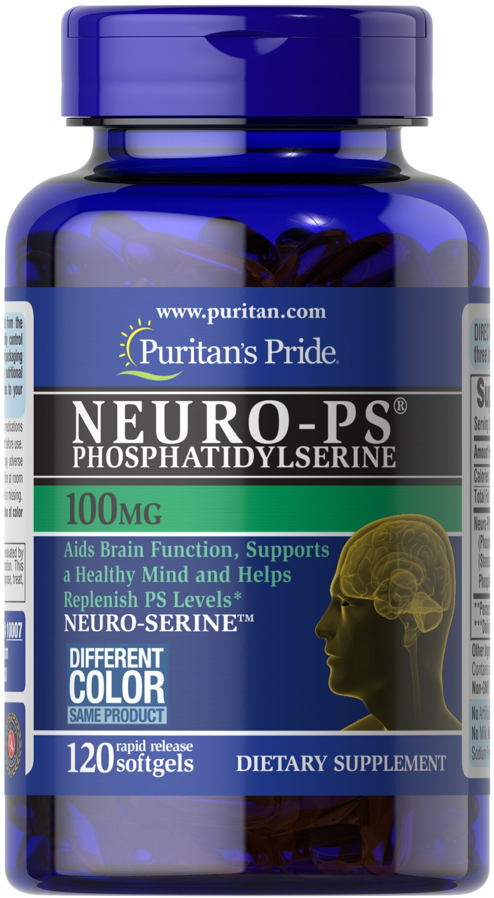 Neuro-Ps (Phosphatidylserine) 100 mg <p>Phosphatidylserine (PS):</p> <p>Aids Brain Function**</p><p>Supports a Healthy Mind**</p><p>Helps Replenish PS levels**</p>   <p>Very limited and preliminary scientific research suggests that PS may reduce the risk of cognitive dysfunction in the elderly. The FDA concludes that there is  little scientific evidence supporting this claim.</p><p>Available in 100, 200 and 300 milligram potencies