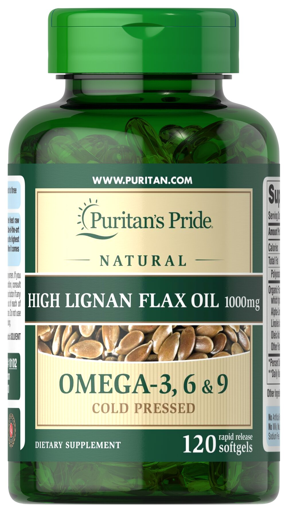 High Lignan Flax Oil 1000 mg <p><strong>Flax</strong> is one of the premium sources of <strong>Alpha-Linolenic Acid (Omega-3) and Linoleic Acid (Omega-6)</strong>, essential fatty acids that can't be made by the body and must be obtained from diet. Fatty acids play a role in providing an energy source for the body.** Our flax oil provides all these benefits, plus it's derived from 100% organic flax, which means it's free from chemicals, pesticides and he