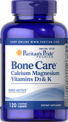Bone Care <p>Our high quality Bone Care formula contains several ingredients that are important to bone health, including:</p><p>1,200 mg of Calcium, enough to provide 120% of your daily value.**</p><p>Vitamin D, a nutrient important for the maintenance of Calcium blood levels</p><p>Vitamin K and Magnesium</p> 120 Caplets  $13.94