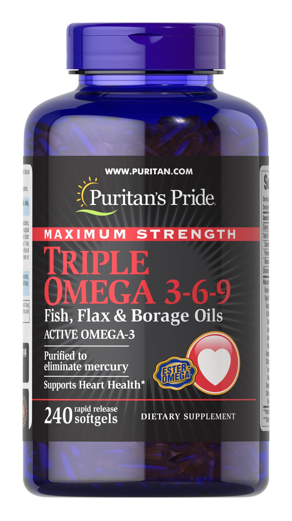 Maximum Strength Triple Omega 3-6-9 Fish, Flax & Borage Oils  240 Softgels  $24.99