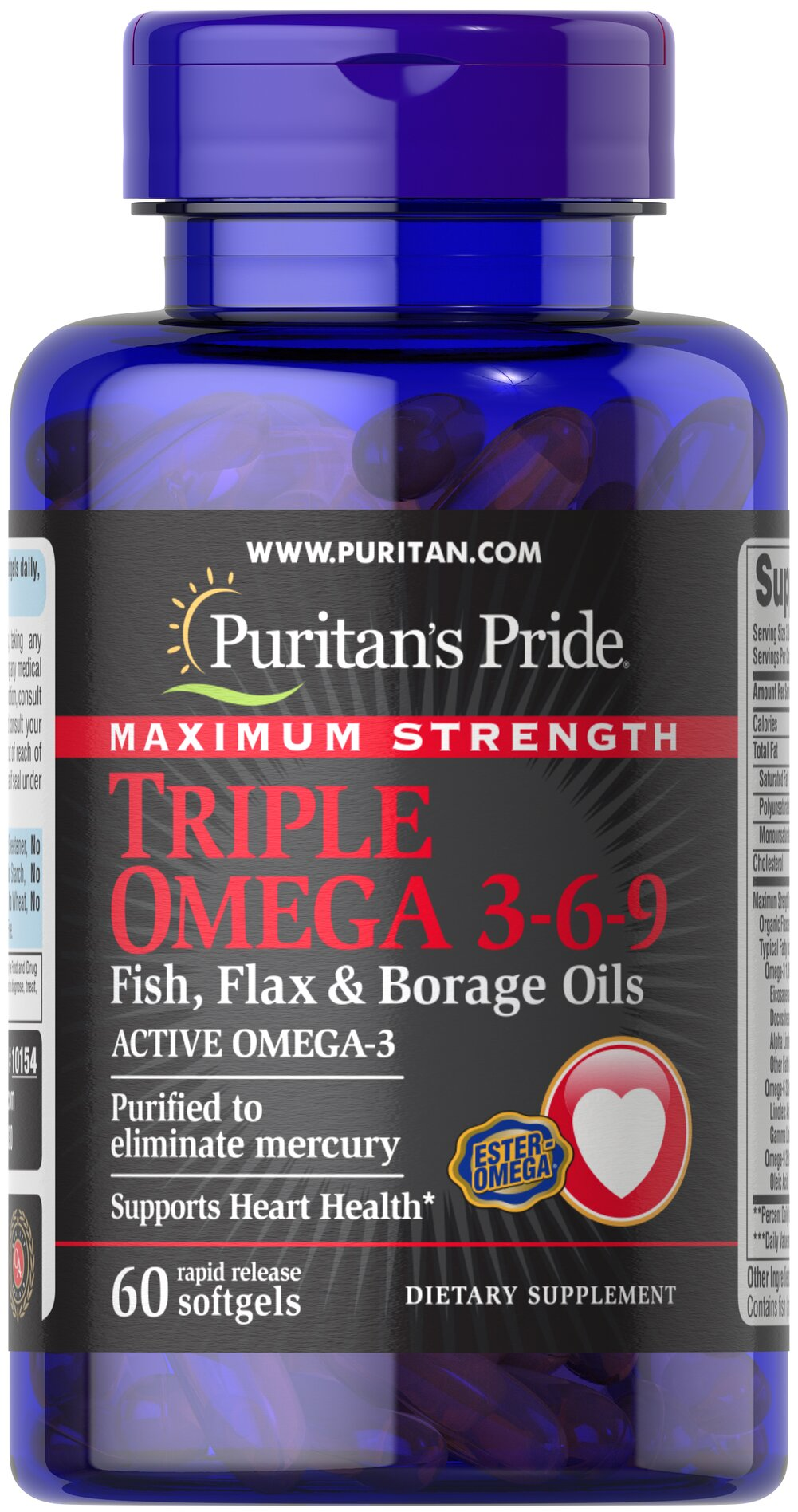 Maximum Strength Triple Omega 3-6-9 Fish, Flax & Borage Oils  60 Softgels  $10.49