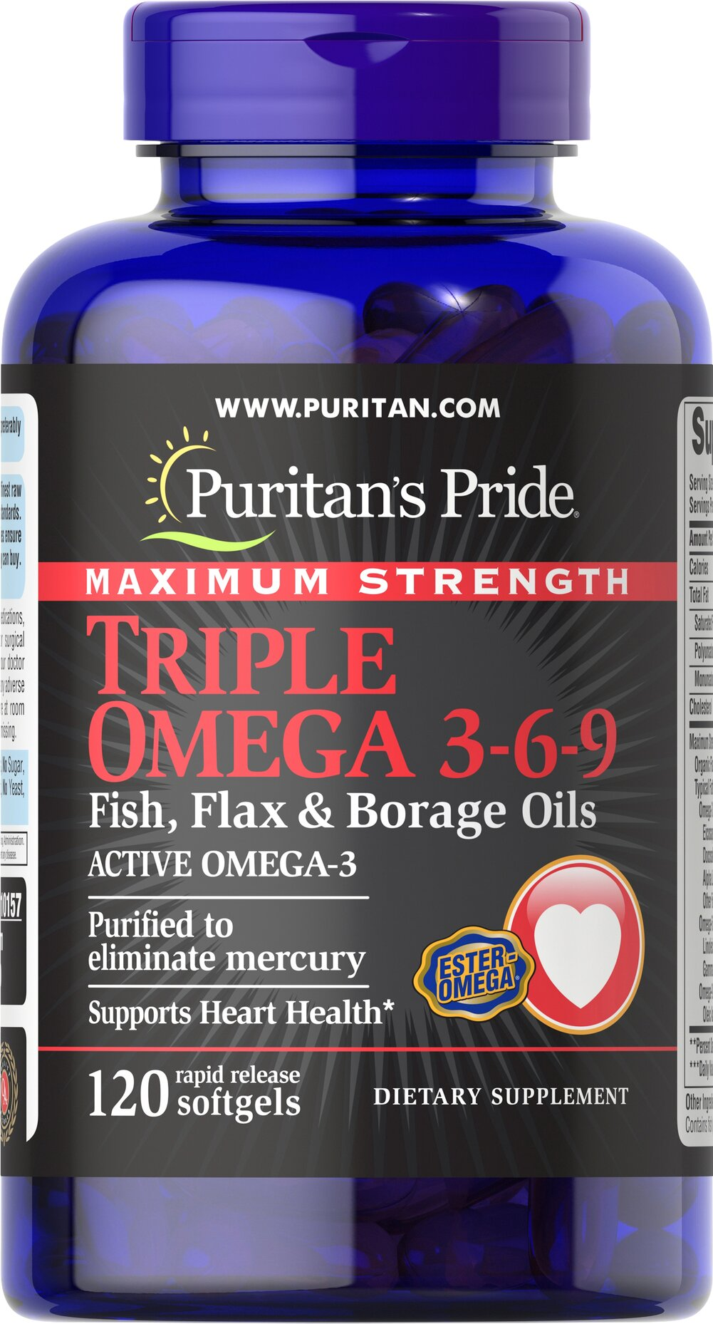 Maximum Strength Triple Omega 3-6-9 <p><strong>Purified to Eliminate Mercury</strong></p><p>Recent scientific research highlights the importance of getting Omega fatty acids. </p><p>TRIPLE OMEGA 3-6-9 contains essential and non-essential fatty acids from flax, fish and borage oils.  (1200 mg each) plus 50% of your daily value for Vitamin E. This superb formula is one of the best ways to support cardiovascular health.**</p> 120 Softgels  $33.99