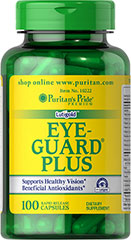 Eye Guard Plus <p>The eyes have it! This exceptional formula contains over 14 active ingredients including the antioxidant nutrients Selenium, Vitamin C and Vitamin E. This formula also contains Bilberry extract, which helps support eye function by promoting healthy circulation, and Lutein, which plays a role in the maintenance of eye health and is the principle Carotenoid found in the central area of the retina called the macula.**</p> 100 Capsules  $47.39