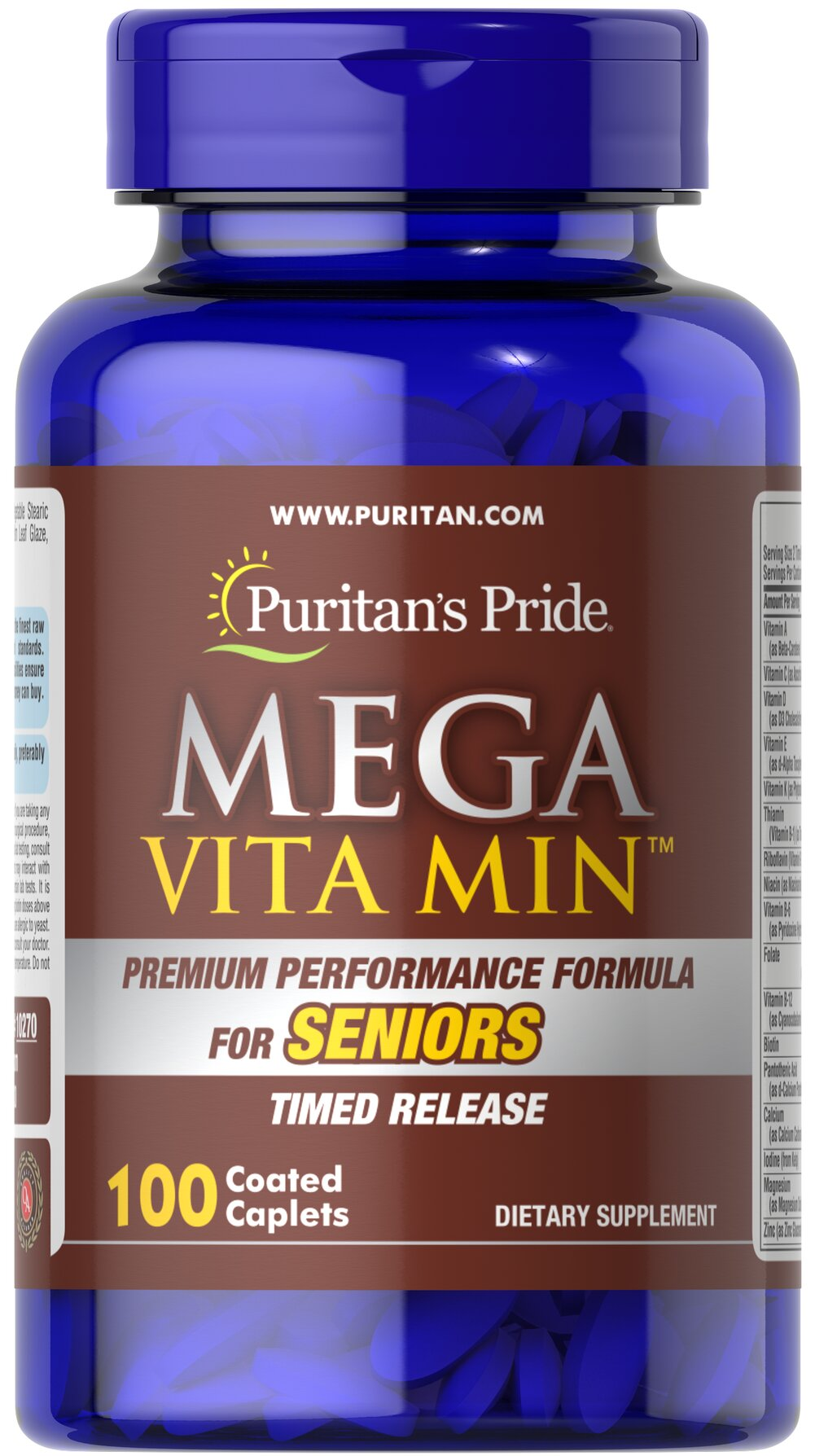 Mega Vita Min™ Multivitamin for Seniors Timed Release <p>Mega Vita Min™ for Seniors combines a bounty of vitamins and minerals, with a cornucopia of herbs to create a specialized formula specifically designed for maturing adults.  Start reaping the benefits of a timed-release vitamin geared for your needs.</p> 100 Coated Caplets  $20.99