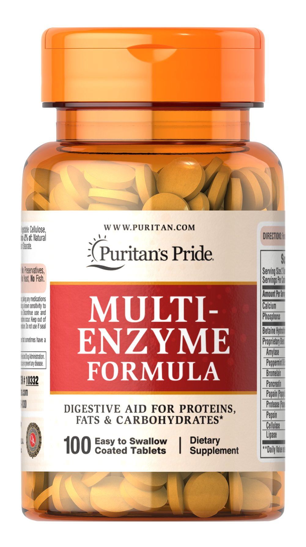 Multi Enzyme <p>Digestive aid for proteins, fats and carbohydrates.** Ingredients include enzymes that can help make nutrients available for the body's energy needs, cell growth and other vital functions.** This product is coated for ease of swallowing.</p>  100 Tablets  $15.99