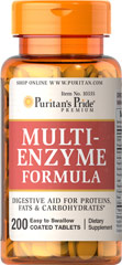 Multi Enzyme <p>Digestive aid for proteins, fats and carbohydrates.** Ingredients include enzymes that can help make nutrients available for the body's energy needs, cell growth and other vital functions.** This product is coated for ease of swallowing.</p>  200 Tablets
