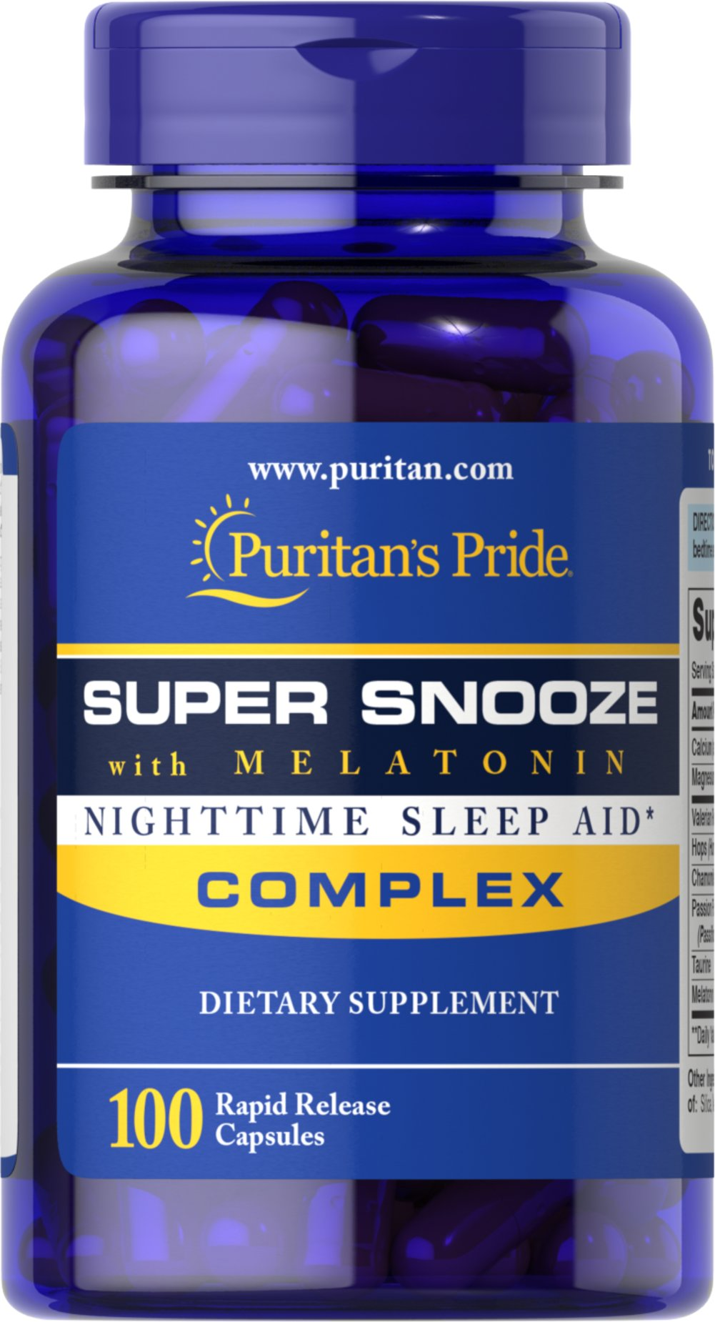 Super Snooze with Melatonin <p>Super Snooze with Melatonin works in harmony with your natural sleep cycle to give you the tranquil rest you deserve, so you can awaken feeling refreshed.** Super Snooze with Melatonin is perfect for people experiencing occasional sleeplessness, those with jet lag, or anyone seeking to improve their quality of rest.** Key ingredients include Valerian Root,  Chamomile, Passion Flower and Melatonin, among others.</p> 100 Capsules  $10.99