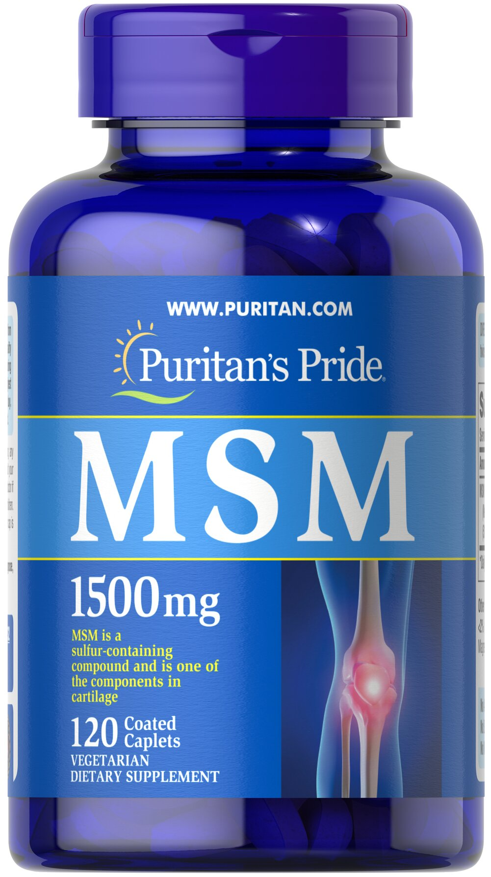 MSM 1500 mg <p><strong>Methylsulfonylmethane (MSM)</strong> is a natural source of sulfur, one of the major building blocks of glycosaminoglycans.** Glycosaminoglycans are key structural components in cartilage and play an important role in the maintenance of joint cartilage. ** </p> 120 Caplets 1500 mg $19.49