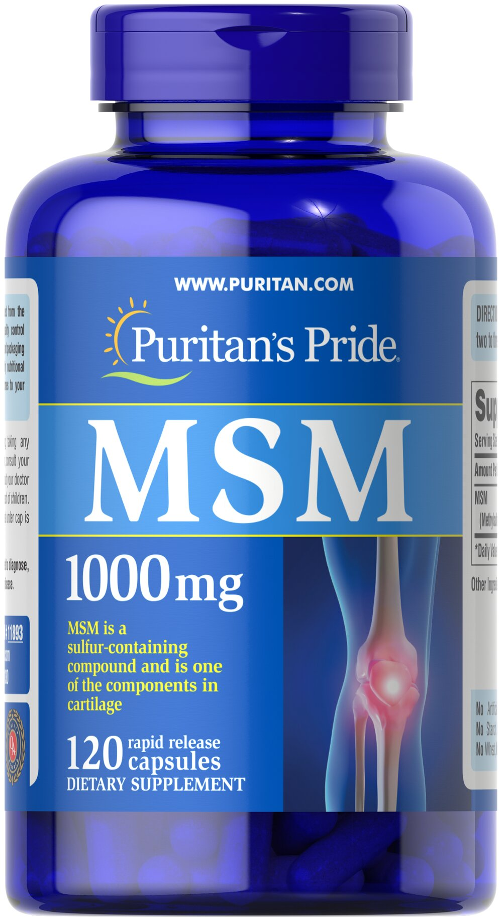 MSM 1000 mg <p><strong>Methylsulfonylmethane (MSM)</strong> is a natural source of sulfur, one of the major building blocks of glycosaminoglycans.** Glycosaminoglycans are key structural components in cartilage and play an important role in the maintenance of joint cartilage. ** </p> 120 Capsules 1000 mg $11.19