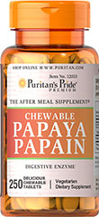 "Papaya Papain <p>THE AFTER MEAL SUPPLEMENT®</p> <p>These delicious tablets are made from papain, an enzyme found in papaya fruit. As the perfect ""after meal"" supplement, papain is the ideal ending to a hearty meal. Sweetened with sucrose.</p> 250 Chewables  $10.99"