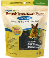 Brushless Toothpaste Chews for Medium and Large Dogs  18 oz Bag  $14.99