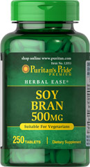 Soy Bran 500 mg <p>One Soy Bran Tablet gives you six times the fiber content of one wheat bran tablet!  Soybeans are one of the richest sources of fiber.  We have concentrated this natural source into a (500 mg) tablet which offers six times the fiber content of a (500 mg) wheat bran tablet.</p> 250 Tablets 500 mg $13.39