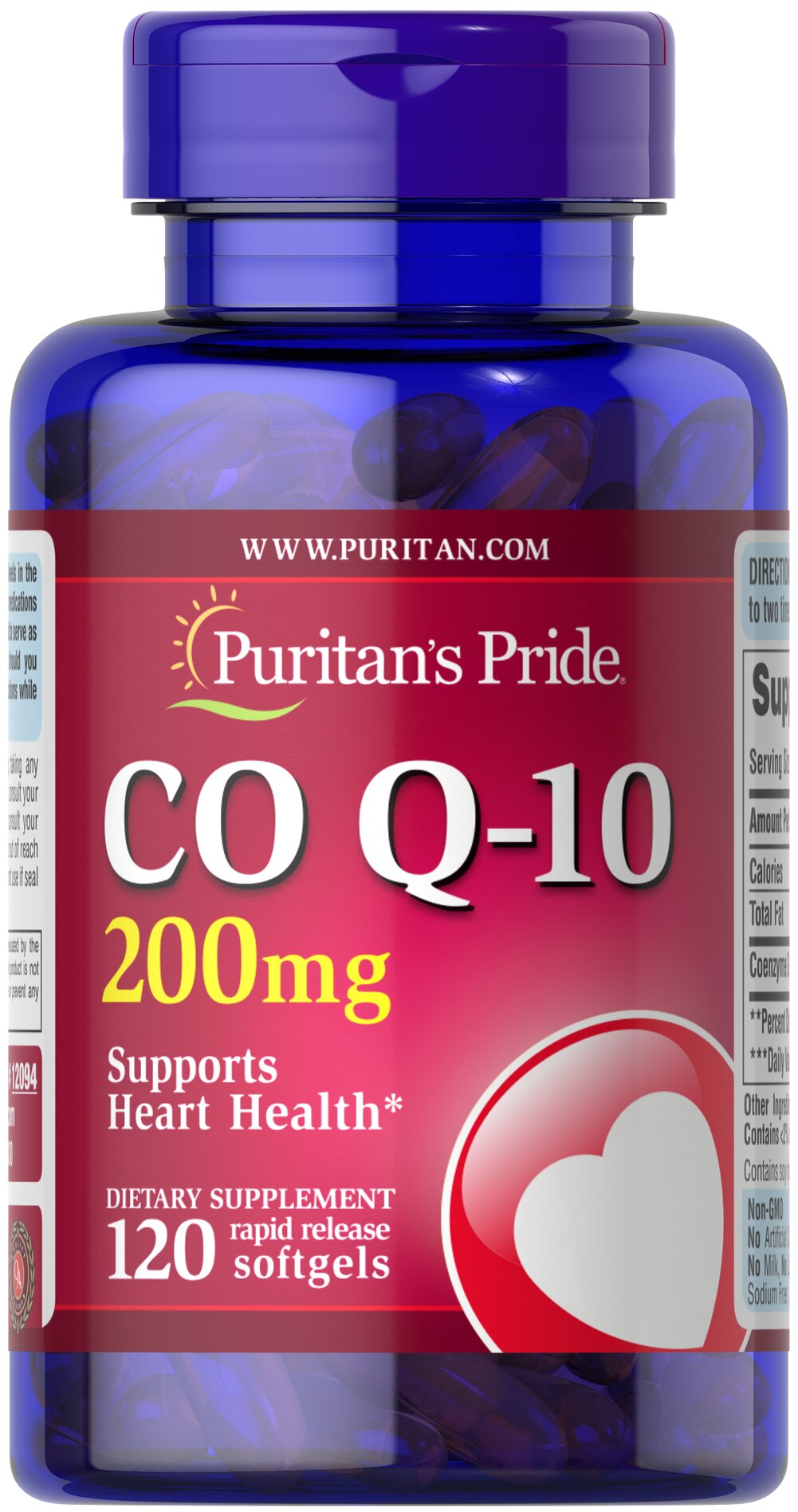 Co Q-10 200 mg <p>Puritan's Pride Q-Sorb™ Co Q-10 (coq10) provides antioxidant support for your heart and ensures potency and purity.**</p><p>Our Q-Sorb™ Co Q-10 is hermetically sealed in rapid release softgels to provide superior absorption</p><p>Contributes to your heart and cardiovascular wellness**</p><p>Helps support blood pressure levels already within a normal range**</p><p>Promotes energy production within your heart, brain, and muscl