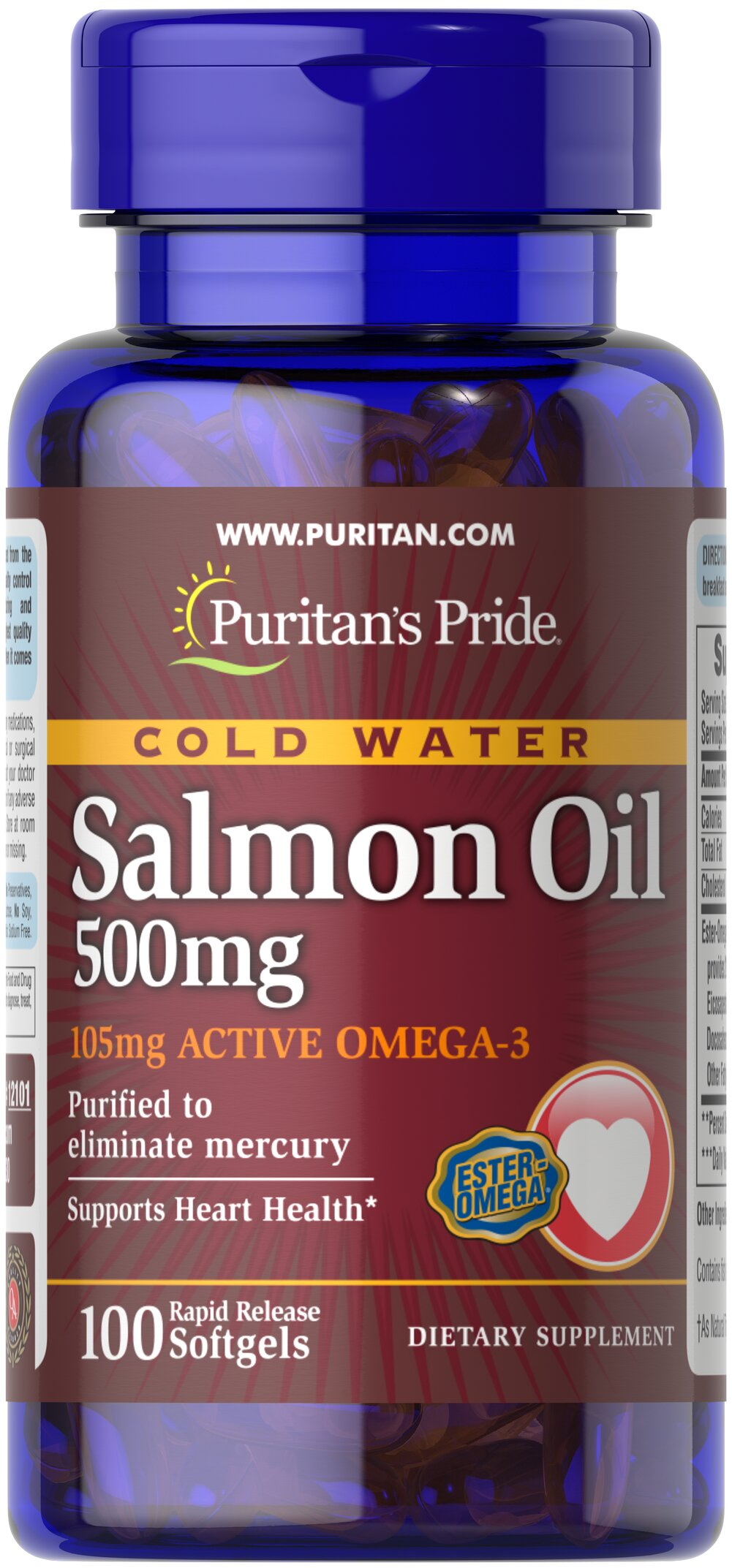 Omega-3 Salmon Oil 500 mg (105 mg Active Omega-3) <p><strong>Purified to Eliminate Mercury</strong></p><p>Puritan's Pride Salmon Oil contains the finest Salmon Oil available. Take two softgels two times a day to gain the essential fatty acids your body needs for good health.** Salmon contains a high concentration of Omega-3 fatty acids that have been shown to help promote metabolic, circulatory and heart health.**</p> 100 Softgels 500 mg $9.20