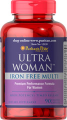 Ultra Women™ Daily Multi Iron Free Timed Release <p>Ultra Women is a unique multivitamins/mineral formula that provides key ingredients such as Calcium, Folic Acid, and B-6 for the special needs of women.  Each tablet is specially formulated to provide a gradual release of nutrients over a prolonged period of time.  This unique formula contains no Iron.</p> 90 Caplets  $25.99