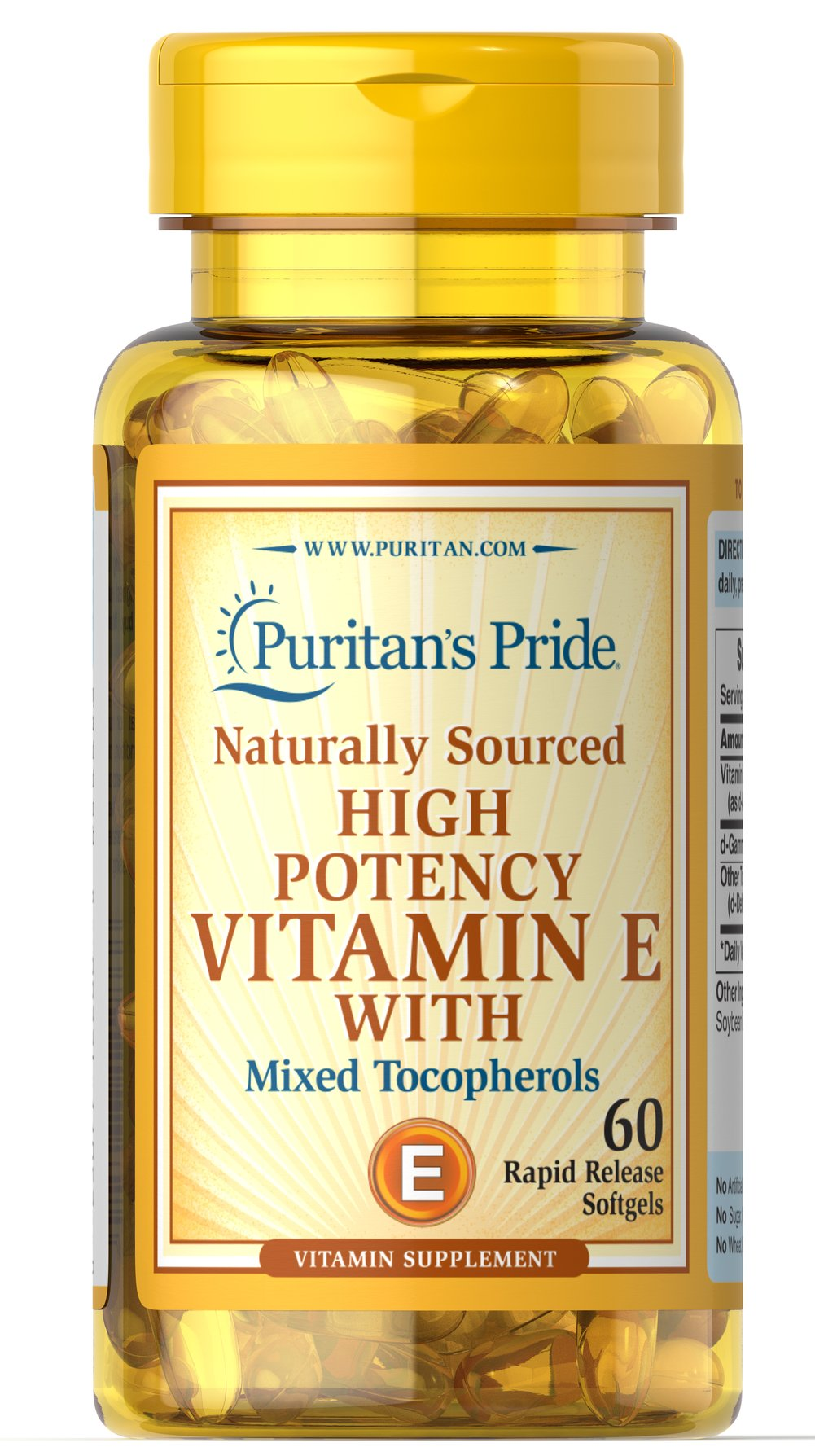 Vitamin E Complex High Gamma Natural  60 Softgels 200 IU