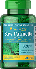 Saw Palmetto Standardized Extract 320 mg <p>Men the world over are discovering the beneficial properties of Saw Palmetto. Saw Palmetto contains phytochemicals, which support prostate health and urinary health.**</p><p>Our Saw Palmetto formula is fully assayed and standardized to ensure that each softgel contains 85-95% fatty acids and active sterols, which guarantees bioactivity.**</p> 120 Softgels 320 mg $22.94