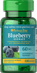 Blueberry Leaf Standardized Extract 60 mg <p>Go Wild for the Benefits of Blueberries!</p><p>Our Blueberry Leaf Extract is standardized to contain 16% chlorogenic acid.  Chlorogenic acid possesses antioxidant properties that may help neutralize cell-damaging free radicals.** So go wild for blueberries, and discover the advantages of one of the world's most celebrated fruits.</p> 100 Softgels 60 mg $9.99