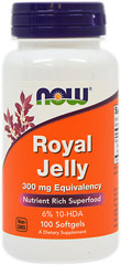 Royal Jelly 300 mg equivalent <p><strong>From the Manufacturer's Label:</strong></p><p>Royal Jelly is a natural honeybee product that is used in the nutrition of immature and adult queen bees. Royal Jelly has a complex nutritional profile that includes amino acids, fatty acids, minerals and sugars. </p><p>Manufactured by NOW® Foods</p><p></p> 100 Softgels 300 mg $6.99