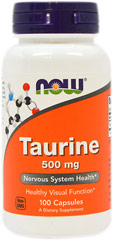 Taurine 500 mg <p>From the Manufacturer:<br /></p><ul><li>Nervous System Health**<br /></li><li>Healthy Visual Function**<br /></li></ul><p>Taurine is a conditionally essential amino acid that is not utilized for protein synthesis, but is mainly found free in most tissues, especially throughout the nervous system.** It functions in tissues by stabilizing cell membranes and aiding the transport of potassium, sodium, calcium a