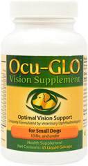 Ocu-Glo for Small Dogs <strong>From the Manufacturer:  </strong>Vision Supplement for small dogs 10 lbs. or under.  Optimal Vision Support.  Uniquely Formulated by Veterinary Ophthalmologists. 45 Capsules  $28.00