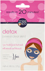"Detox Facial Mask <strong>From the Manufacturer:  </strong>Discover the spa in your own home!  Finally, a no-mess mud mask!  Soothing botanicals help your skin clean up its act without over drying.  Detoxifying minerals work to eliminate impurities and decongest pores leaving skin feeling clear, fresh and renewed.  Who said a ""detox"" had to be hard work?! 1 count  $4.29"