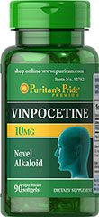 Vinpocetine 10 mg <p>Used in Europe for years, Vinpocetine is a chemically distinct substance that plays a role in supporting cerebral circulation and cognitive function.**</p> 90 Softgels 10 mg $14.99