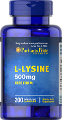 L-Lysine 500 mg  <p>For Balanced Nutrition and Health**</p><p>Lysine is an indispensable amino acid that cannot be made by the body.** Amino acids form the basis for protein, which helps construct and maintain the critical structures in the body.** Lysine is also used for the health and integrity of skin.**</p> 200 Capsules 500 mg $12.99