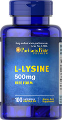 L-Lysine 500 mg <p>For Balanced Nutrition and Health**</p><p>Lysine is an indispensable amino acid that cannot be made by the body.** Amino acids form the basis for protein, which helps construct and maintain the critical structures in the body.** Lysine is also used for the health and integrity of skin.**</p> 100 Capsules 500 mg $6.49