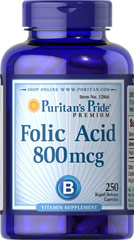 Folic Acid 800 mcg <p>Women who take steps to ensure that their folate intake is at least 400 mcg. Daily throughout their childbearing years may reduce their risk of having a child with birth defects of the brain or spinal cord. Folic acid plays a role in maintaining cardiovascular health and in the formation of new cells.**</p> 250 Capsules 800 mcg $7.99
