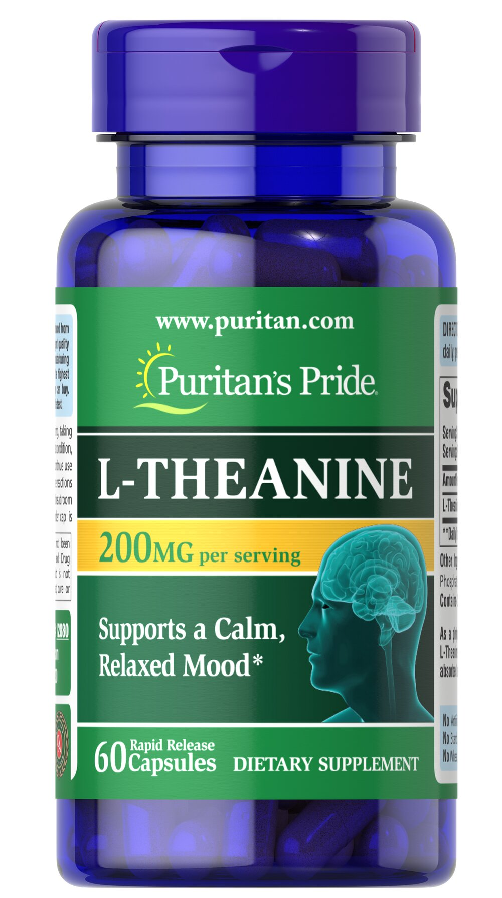 L-Theanine 200 mg <p>A close relative of Glutamate, studies indicate that L-Theanine interacts with the neurotransmitter, GABA (gammaminobutyrate).** GABA, known for its importance in nervous system functioning, works with the mood centers of the brain.** Studies in Japan show that L-Theanine helps support the body's ability to deal with PMS and occasional, everyday anxiety.**</p> 60 Capsules 200 mg $16.99