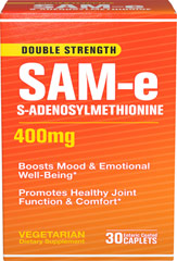 SAM-e 400 mg <p>Science has been looking into this remarkable supplement and time after time clinical studies have drawn the same conclusions, SAM-e:</p><p>Promotes healthy joint function and comfort**</p><p>Boosts mood and emotional well-being**</p> 30 Caplets 400 mg $37.99