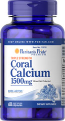 Triple Strength Coral Calcium 1500 mg <p>Our Triple Strength Coral Calcium delivers three times the amount of Calcium (562 mg per capsule — 1500 mg daily when taken as directed). Calcium promotes bone strength and supports heart, nerve and muscle functions.** This Coral Calcium is mined, not collected, from an above ground source  making it environmentally friendly.</p> 60 Capsules 1500 mg $22.99