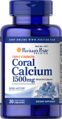 Triple Strength Coral Calcium 1500 mg <p>Our Triple Strength Coral Calcium delivers three times the amount of Calcium (562 mg per capsule — 1500 mg daily when taken as directed). Calcium promotes bone strength and supports heart, nerve and muscle functions.** This Coral Calcium is mined, not collected, from an above ground source  making it environmentally friendly.</p> 30 Capsules 1500 mg $13.99