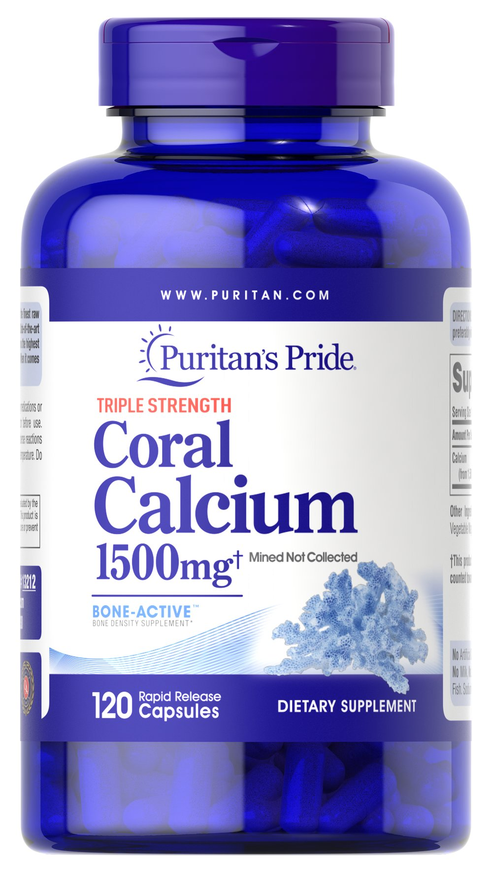 Triple Strength Coral Calcium 1500 mg <p>Our Triple Strength Coral Calcium delivers three times the amount of Calcium (562 mg per capsule — 1500 mg daily when taken as directed). Calcium promotes bone strength and supports heart, nerve and muscle functions.** This Coral Calcium is mined, not collected, from an above ground source  making it environmentally friendly.</p> 120 Capsules 1500 mg $41.99