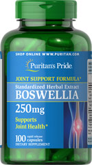 Boswellia Standardized Extract 250 mg <p>Standardized to Contain 65% Boswellic Acid, 162.5 mg.</p><p><strong>Boswellia</strong> is a centuries old herb that helps support the structural health of cartilage.**</p> 100 Capsules 250 mg $17.49