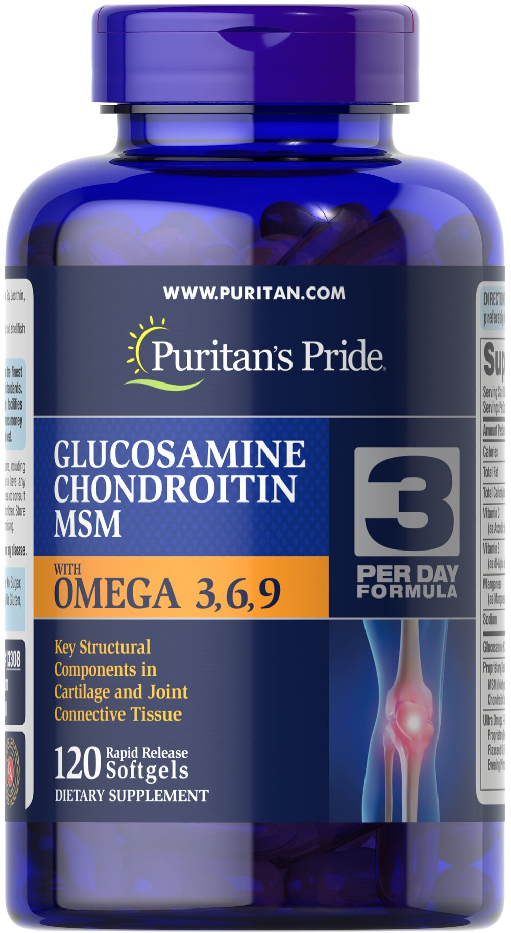 Glucosamine, Chondroitin & MSM with Omega 3, 6, 9 <p>The active ingredients in Joint Soother® are popular for their joint supporting abilities.** This formulation also includes <strong>Omega-3, -6, and -9 fatty acids</strong> from Primrose, Flax and Fish body oils. Support your mobility and flexibility with this formula.</p> 120 Softgels