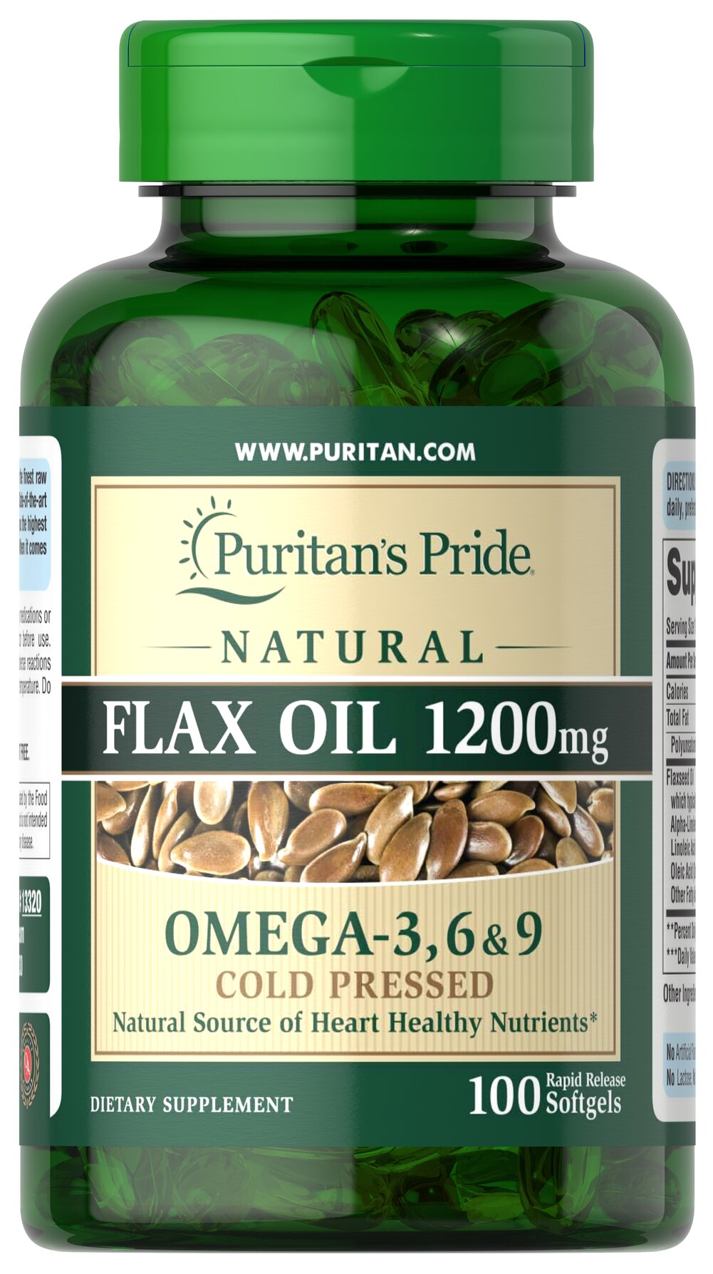 Natural Flax Oil 1200 mg <p>Flaxseed — one of the most concentrated vegetarian source of <b>Omega-3 fatty acids</b> found in nature — contributes to heart and while providing an energy source for the body.** Our high-quality natural <b>Flaxseed Oil</b> is dispensed and processed without solvents, under a nitrogen blanket and special yellow lights, then encased in a protective amber-colored gelatin shell to retain its integrity.</p> 100 Softgels 1200 mg $11.99