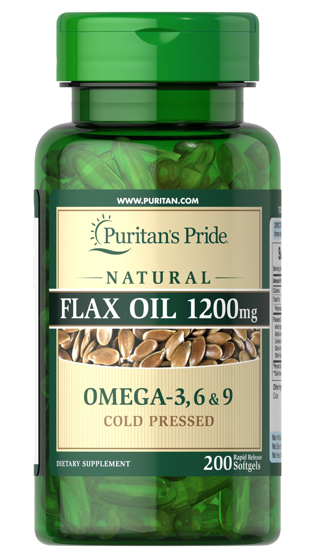 Natural Flax Oil 1200 mg <p>Flaxseed — one of the most concentrated vegetarian source of <strong>Omega-3 fatty acids</strong> found in nature — contributes to heart and while providing an energy source for the body.** Our high-quality natural <strong>Flaxseed Oil</strong> is dispensed and processed without solvents, under a nitrogen blanket and special yellow lights, then encased in a protective amber-colored gelatin shell to retain its integrity.</p> 200 Soft