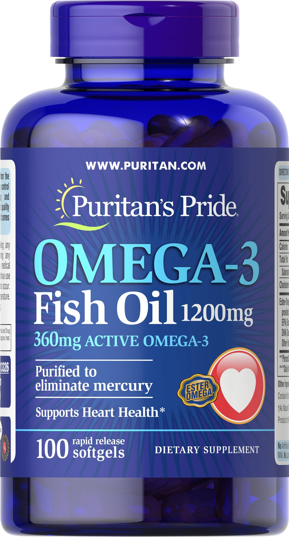 Omega-3 Fish Oil 1200 mg (360 mg Active Omega-3) <p><span></span></p>This Ester-Omega® Fish Oil provides 360mg of total omega-3 fatty acids, comprising of EPA, DHA and other fatty acids. EPA and DHA fatty acids support heart health.** Purified to eliminate mercury. Rapid release softgels. 100 Softgels 1200 mg $9.59