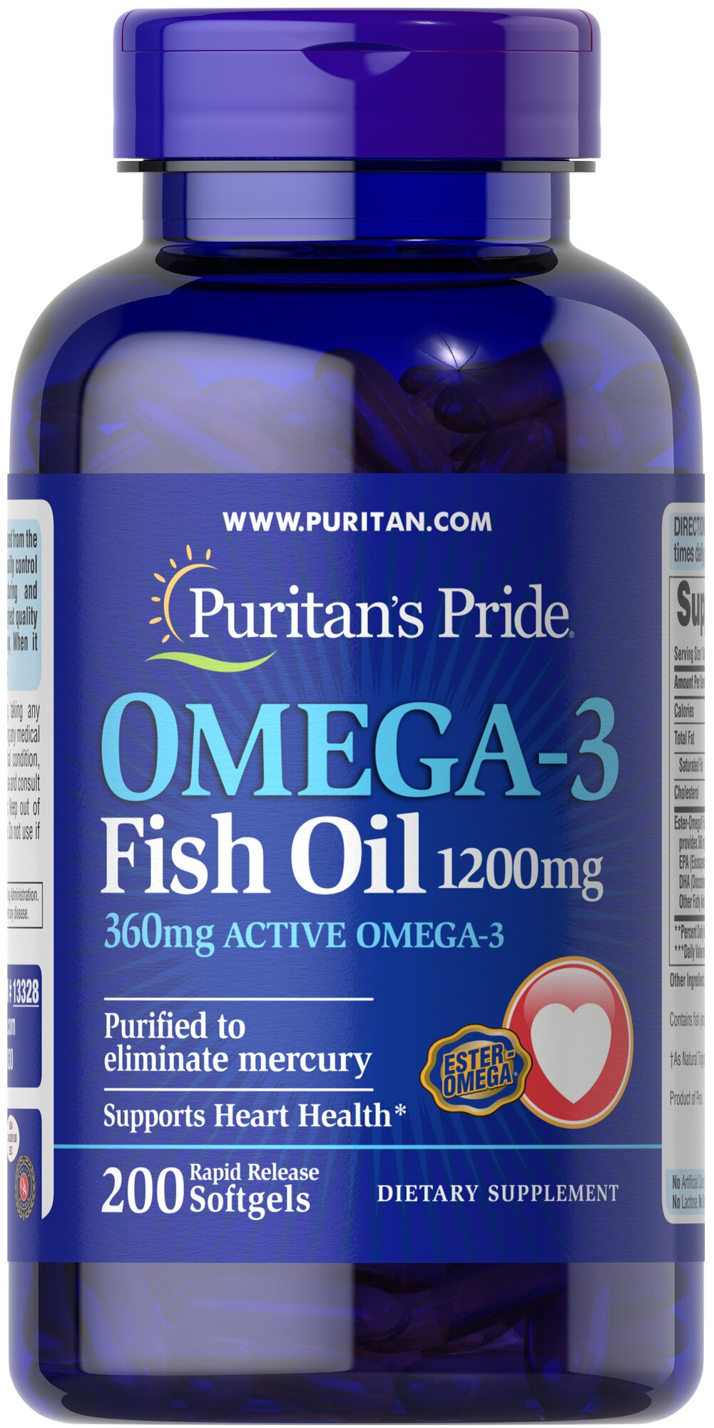 Omega-3 Fish Oil 1200 mg (360 mg Active Omega-3) <p>This Ester-Omega® Fish Oil provides 360mg of total omega-3 fatty acids, comprising of EPA, DHA and other fatty acids. EPA and DHA fatty acids support heart health.** Purified to eliminate mercury. Rapid release softgels.</p> 200 Softgels 1200 mg $21.59