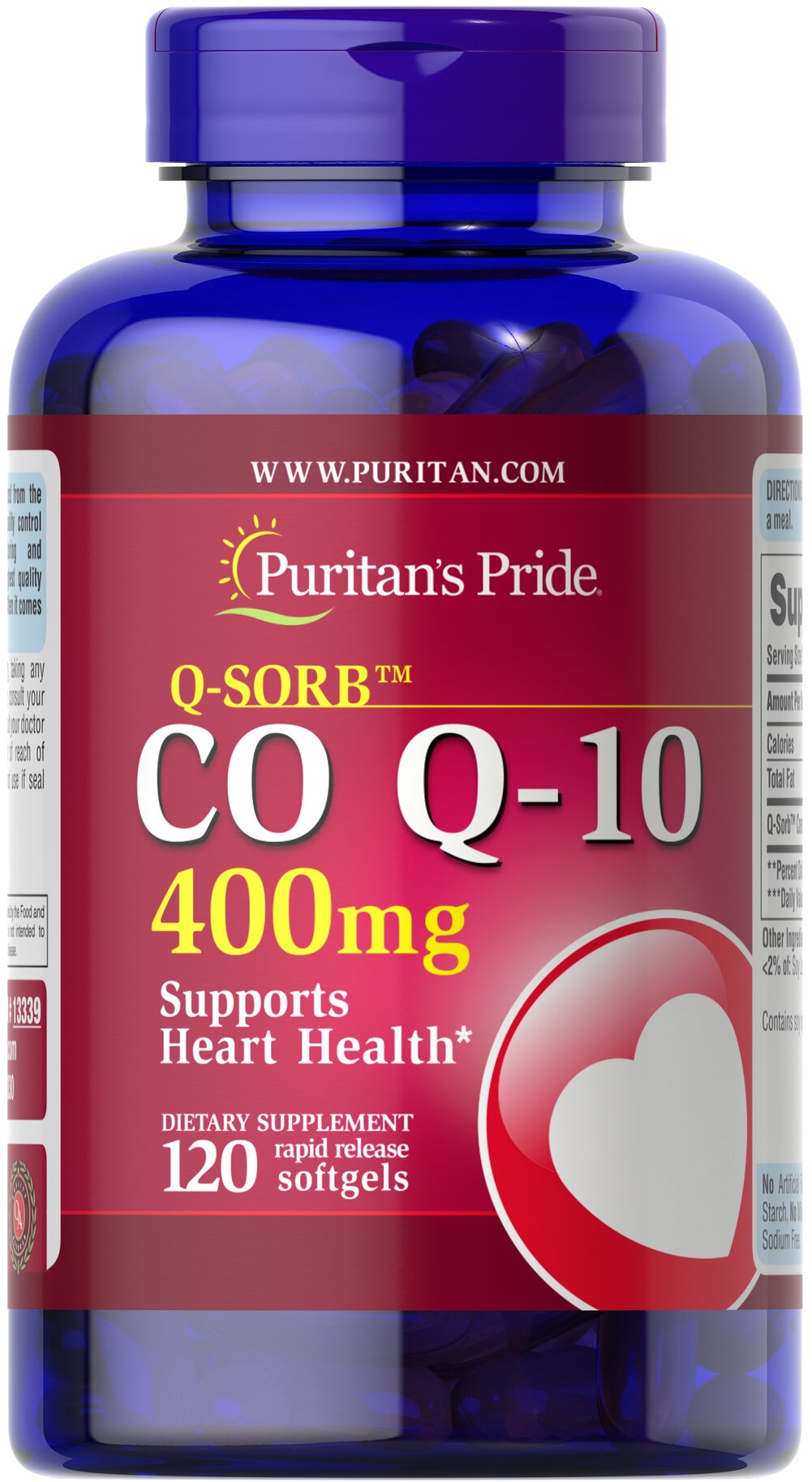 C0 Q-10 400 mg <p>Puritan's Pride Q-Sorb™ Co Q-10 (coq10) provides antioxidant support for your heart and ensures potency and purity.**</p> <p>Our Q-Sorb™ Co Q-10 is hermetically sealed in rapid release softgels to provide superior absorption</p> <p>Contributes to your heart and cardiovascular wellness**</p> <p>Helps support blood pressure levels already within a normal range**</p> <p>Promotes energy production within your heart, brain, and m