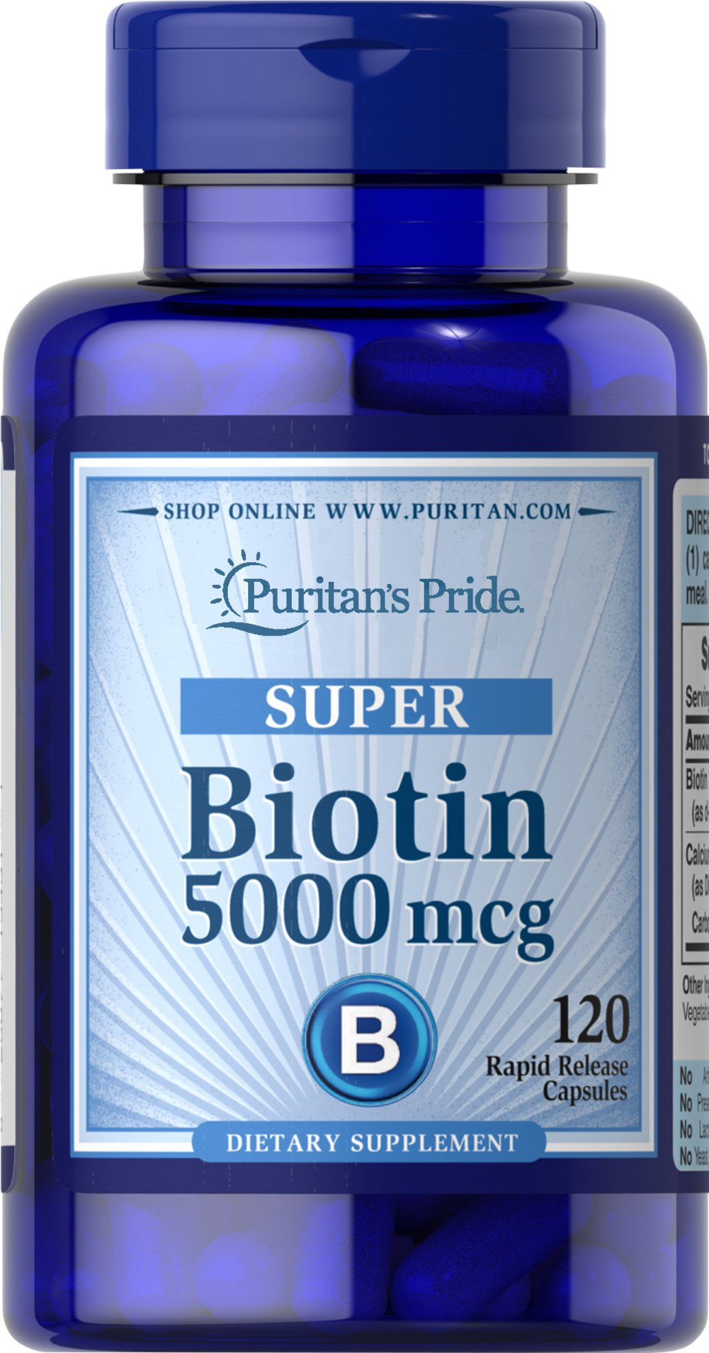 Biotin 5000 mcg <p>Supports Skin & Hair Health**</p><p>Found in foods such as oatmeal and soy, Biotin, a water-soluble B vitamin, assists in energy metabolism in cells.** Biotin helps to support healthy skin and hair.**</p> 120 Capsules 5000 mcg $12.99