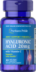 Hyaluronic Acid 20 mg <p>Helps lubricate joints**</p><p>Hyaluronic Acid is a polysaccharide found in almost all adult connective tissue, including joints, ligaments, tendons and skin.** Just one Hyaluronic Acid capsule a day can help maintain the fluid between your joints, providing the cushioning and lubrication necessary for easy movement.**</p> 30 Capsules 20 mg $6.39