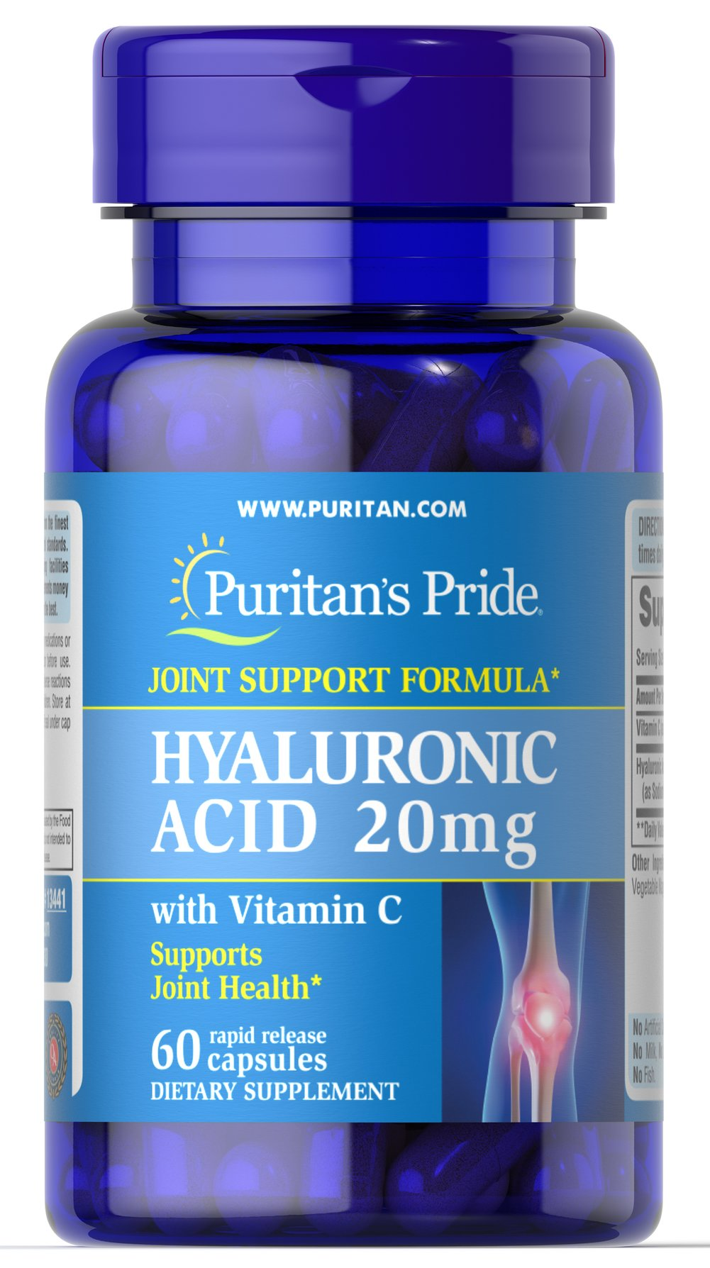 Hyaluronic Acid 20 mg <p>Helps lubricate joints**</p> <p>Hyaluronic Acid is a polysaccharide found in almost all adult connective tissue, including joints, ligaments, tendons and skin.** Just one Hyaluronic Acid capsule a day can help maintain the fluid between your joints, providing the cushioning and lubrication necessary for easy movement.**</p> 60 Capsules 20 mg $11.99