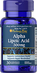 "Alpha Lipoic Acid 300 mg <p>Alpha Lipoic Acid (ALA) helps metabolize sugar, especially in muscles, where it promotes energy.**</p><p>ALA is also beneficial for liver health, and helps to revitalize the underlying structure of the skin so it can look healthier and more radiant.**</p><p> ALA is often called the ""universal antioxidant"" for its ability to help neutralize cell-damaging free radicals.** </p> 30 Softgels 300 mg $6.38"